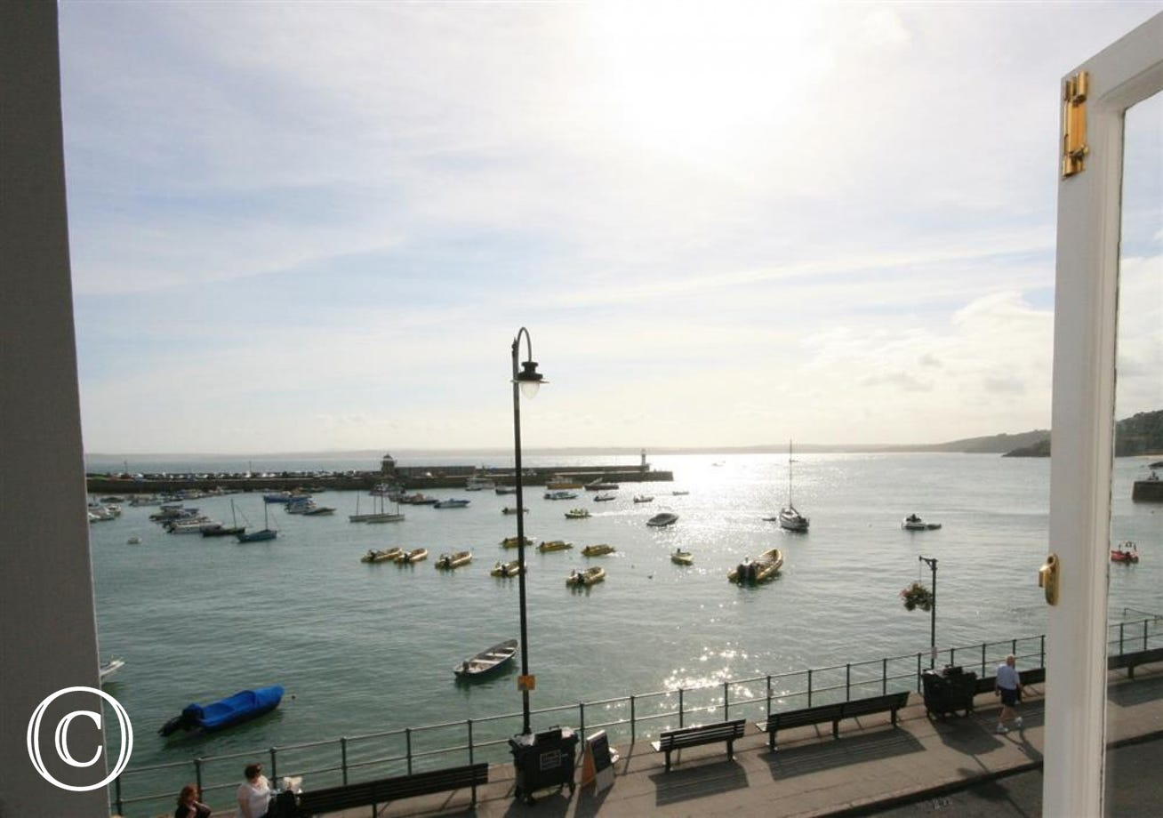 Magnificent views across St Ives Bay from lounge