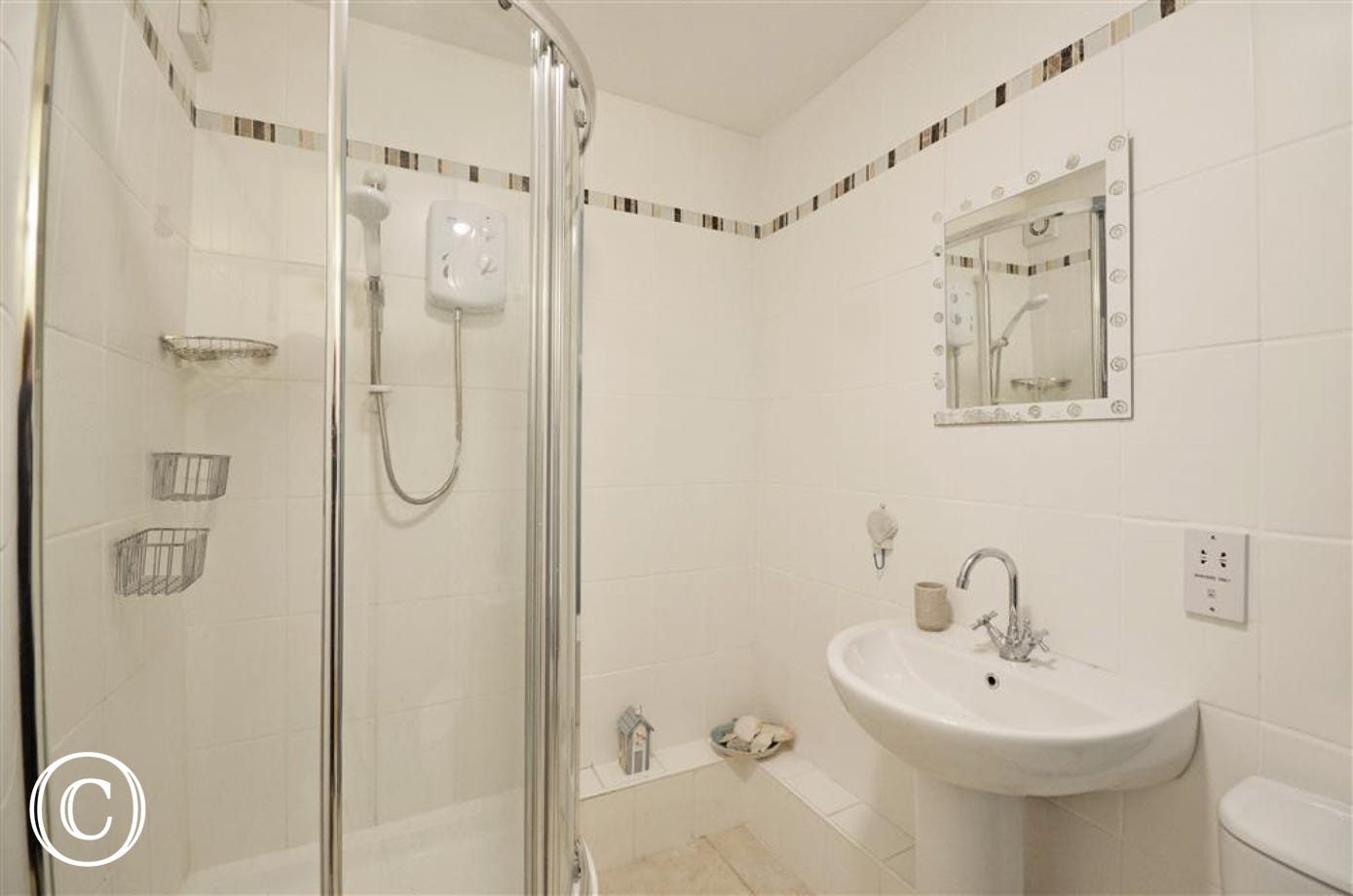 Shower room with quadrant shower, wc & basin