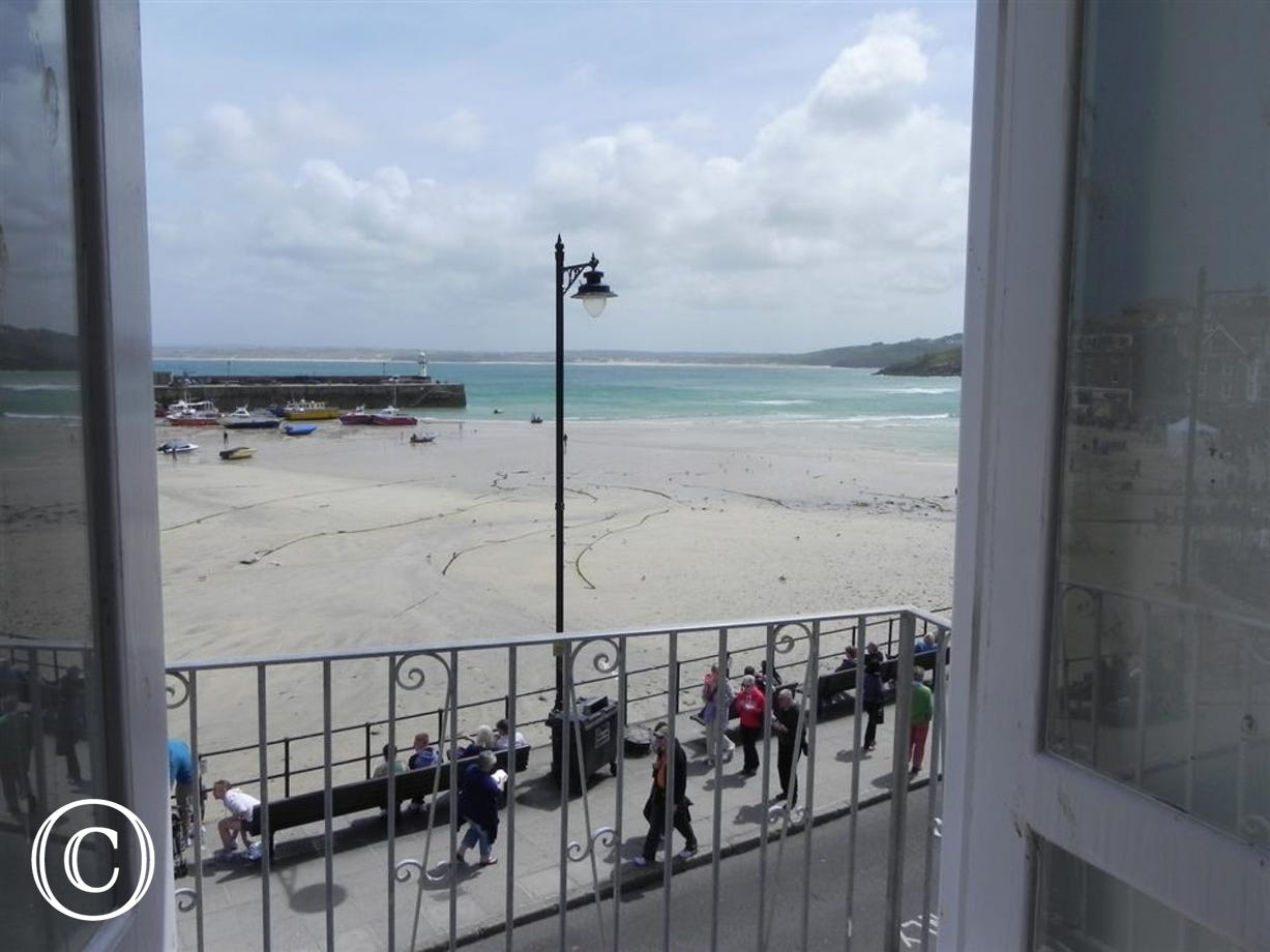 Views across St Ives Bay from the lounge