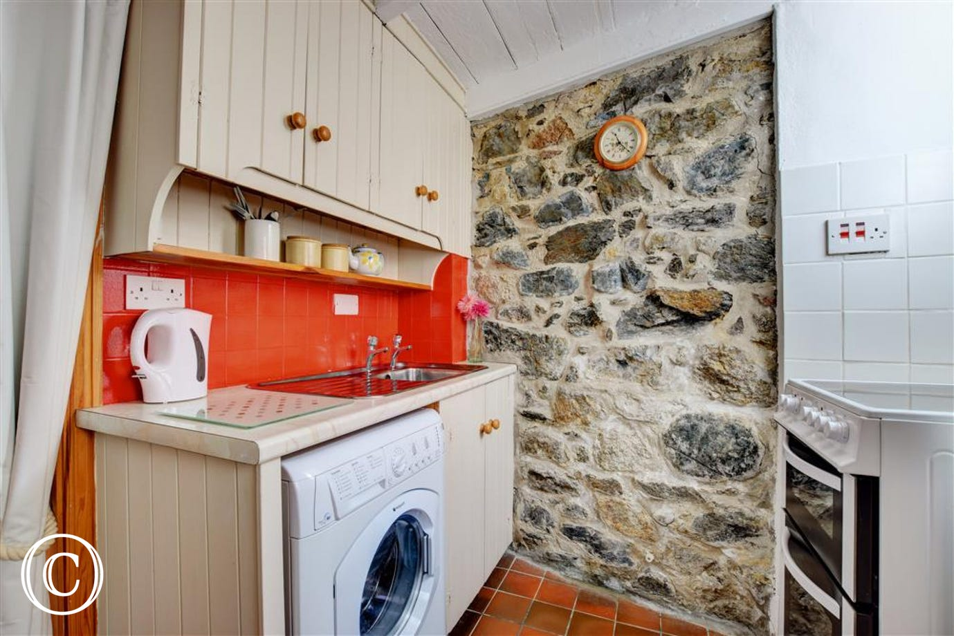 Kitchen with quarry tiled floor