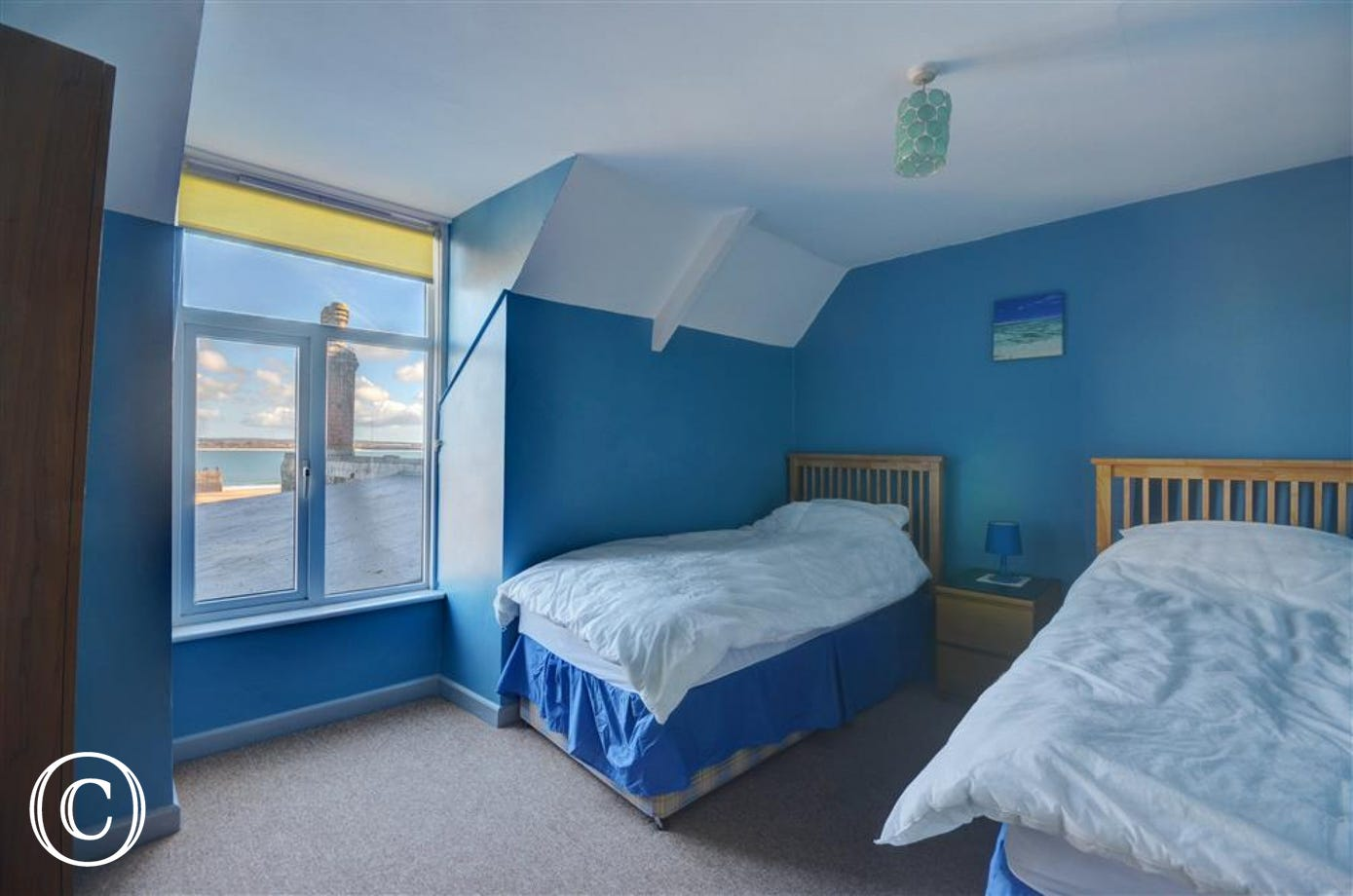 Twin bedroom with spectacular harbour views