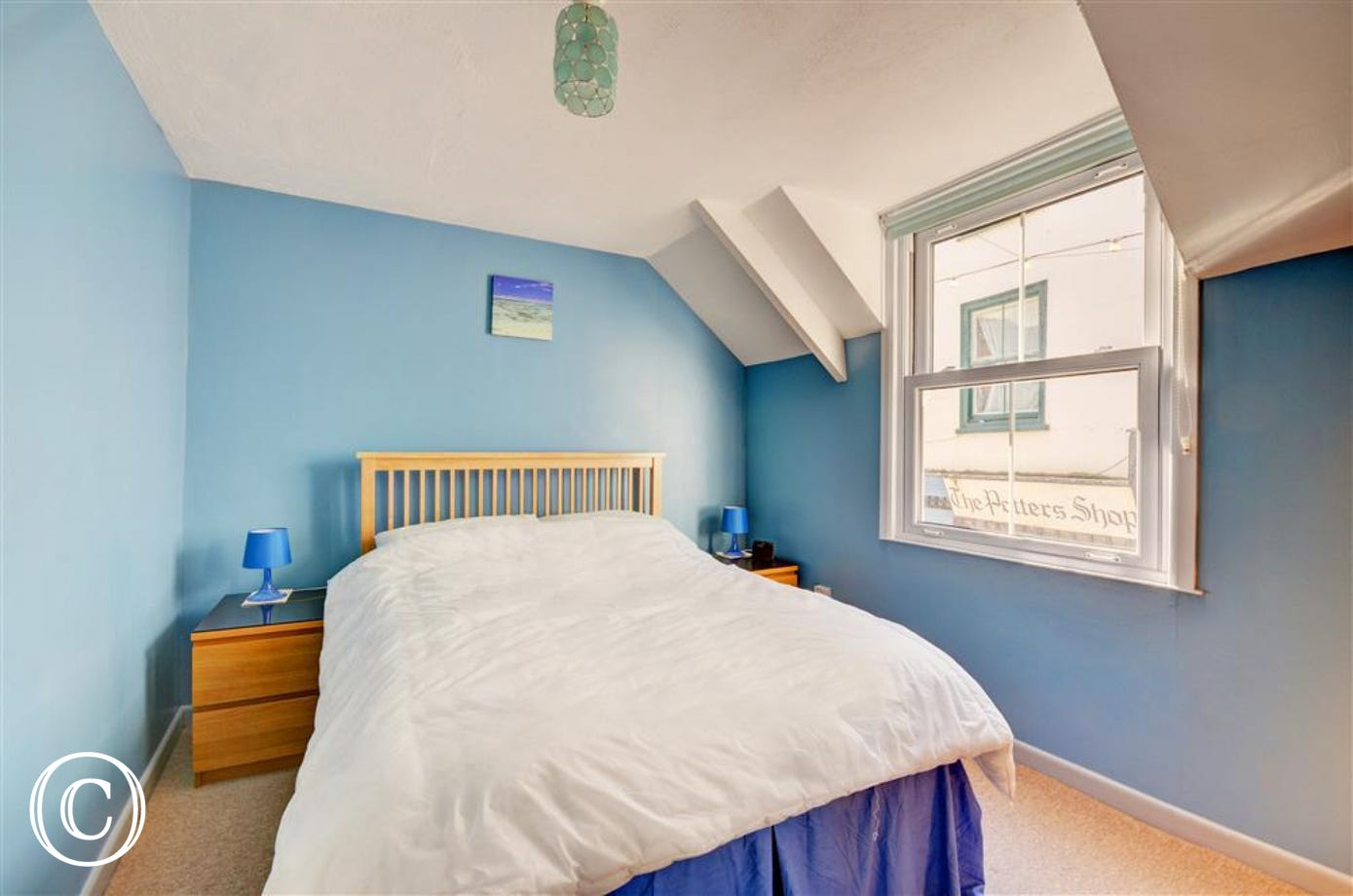 Comfortable double bedroom overlooking Fore Street